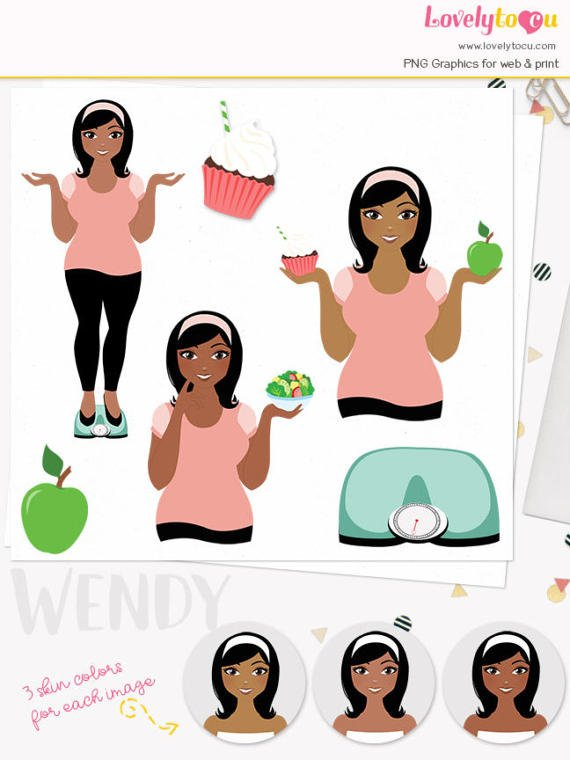 Woman weight loss character clipart exercise illustration ...