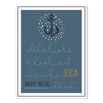 Gallery Direct Nautical Card II, Juli Henze, Canvas Gallery Wrap with Floater Framed Painting Print Size:
