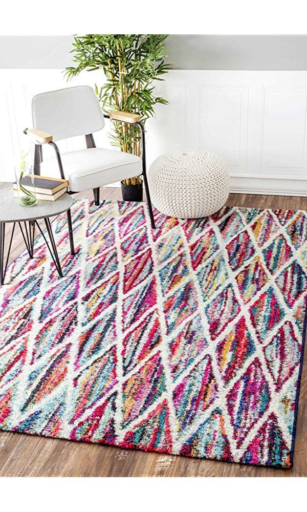 Geometric Soft Rainbow Striped Abstract Trellis Area Rug Best Price