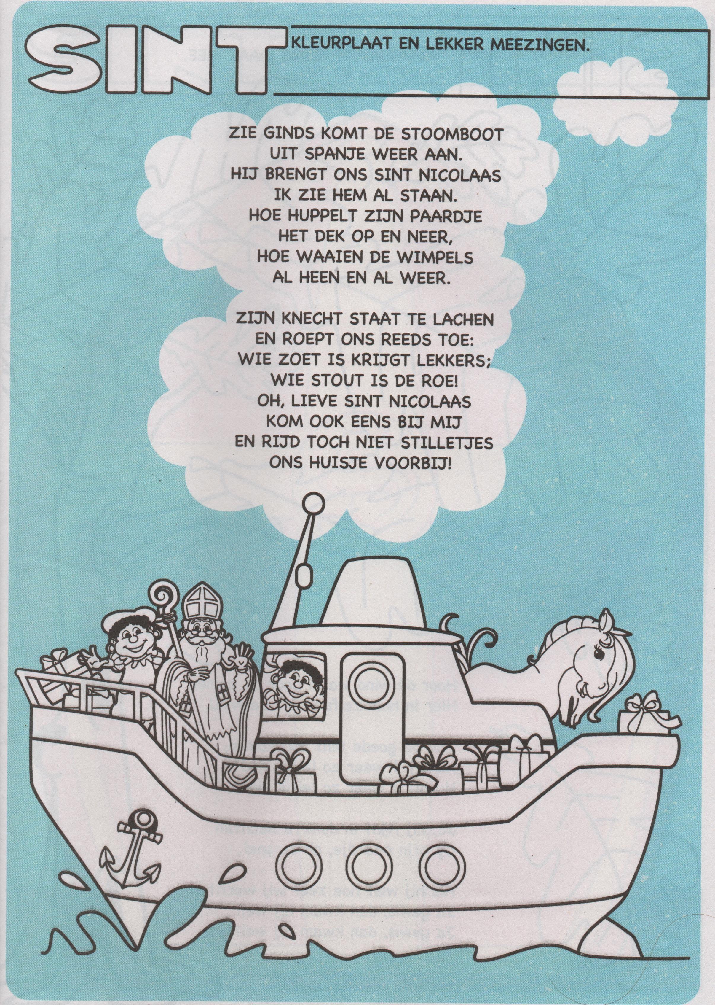 Kleurplaat Liedje Zie Ginds Komt De Stoomboot Sinterklaas Stoomboten Speelgoed