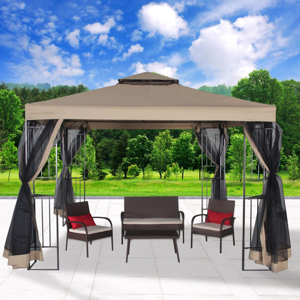 Garden Gazebo Canopy 10 X 10 Patio Double Roof Vented W Mosquito Netting Sand 607376053342 Ebay Patio Gazebo Backyard Patio Gazebo Canopy
