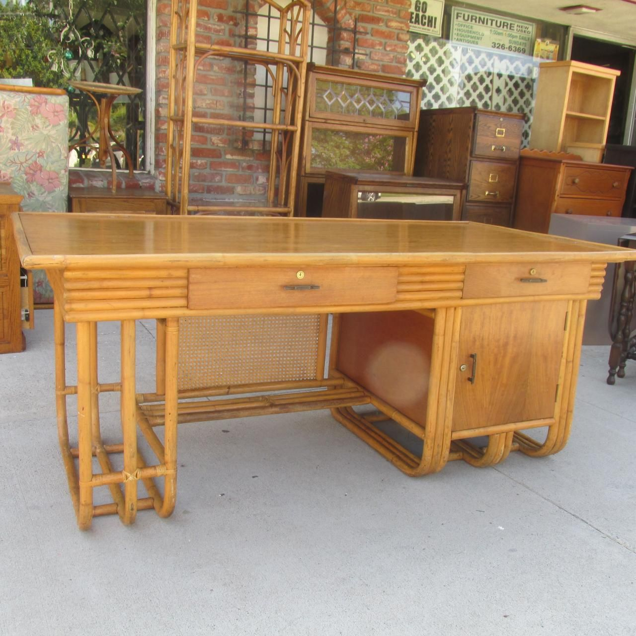 Affordable Retro Furniture: Thrift Shop Rattan Bamboo Desk Vintage Antique