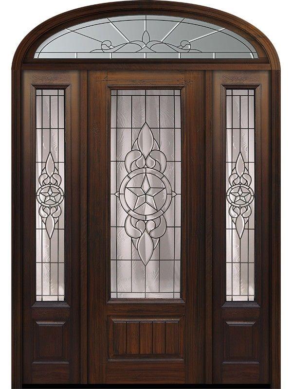 96 1 Panel 3 4 Lite Brazos Walnut Cherry Door 2side W Ellip Transom Fiberglass Exterior Doors Walnut Doors Exterior Door Designs