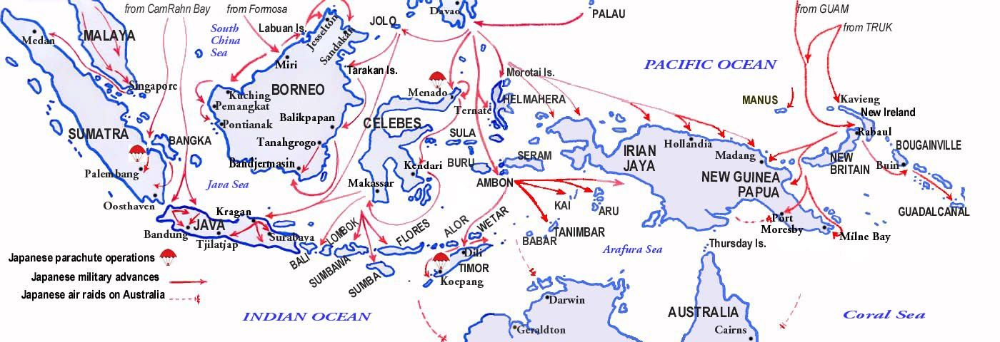 Map of the Dutch East Indies 19411942By 22 Mar the Japanese had