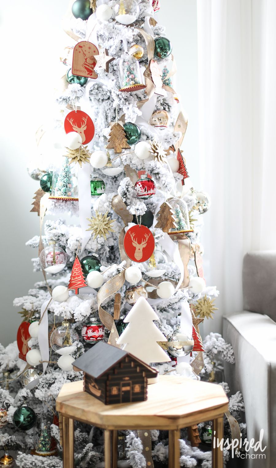 frosted christmas tree holiday home tour inspiredbycharm com rh pinterest com