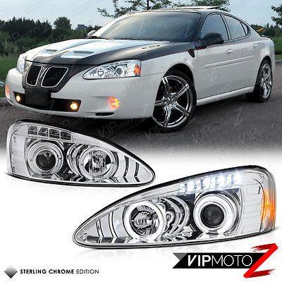 04 08 Pontiac Grand Prix Euro Angel Eye Halo Chrome Projector Headlight Lamp