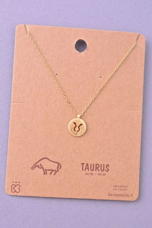 Dainty Circle Coin Taurus Zodiac Symbol Necklace Gold Or Silver
