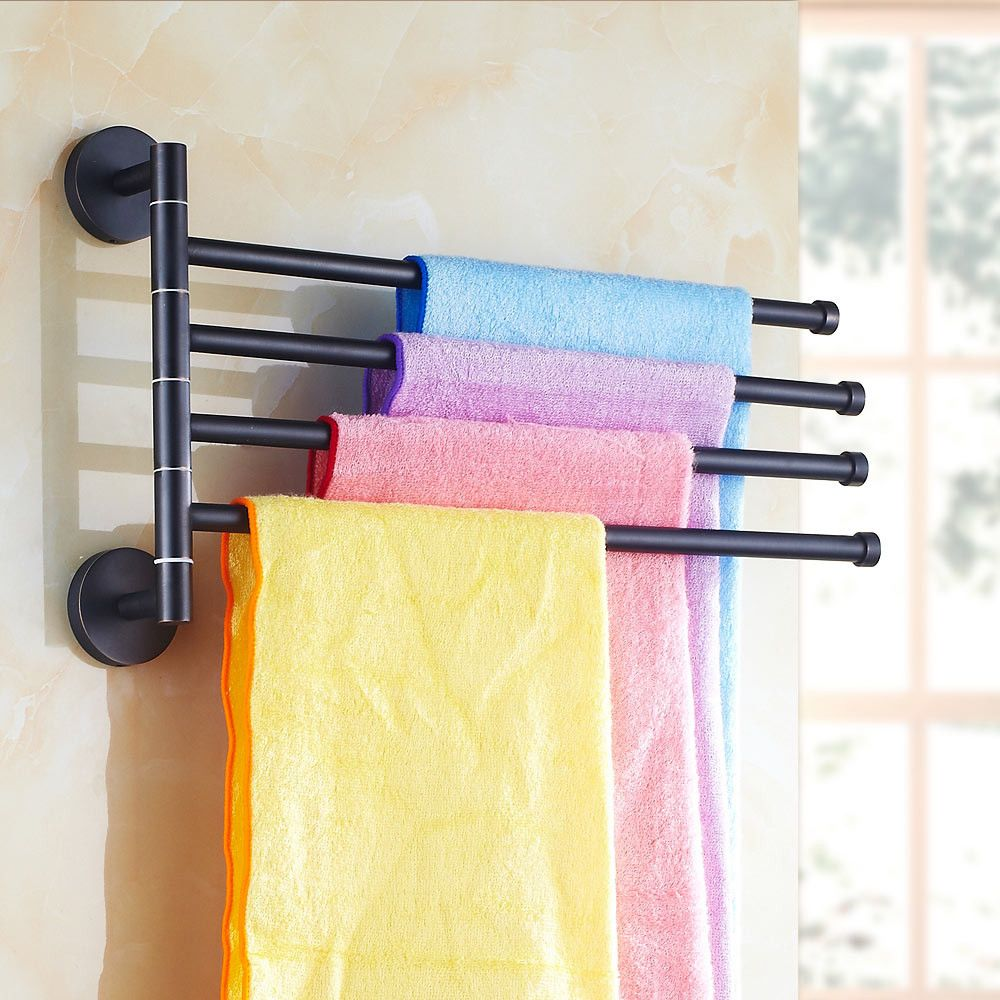 Black Bronze Towel Rack Hanging Rod Movable 2/3/4/5 Arms European ...