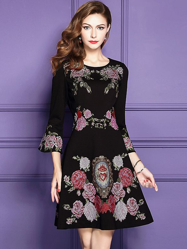 Ethnic O-Neck Flare Sleeve Embroidered Skater Dress from DressSure ...