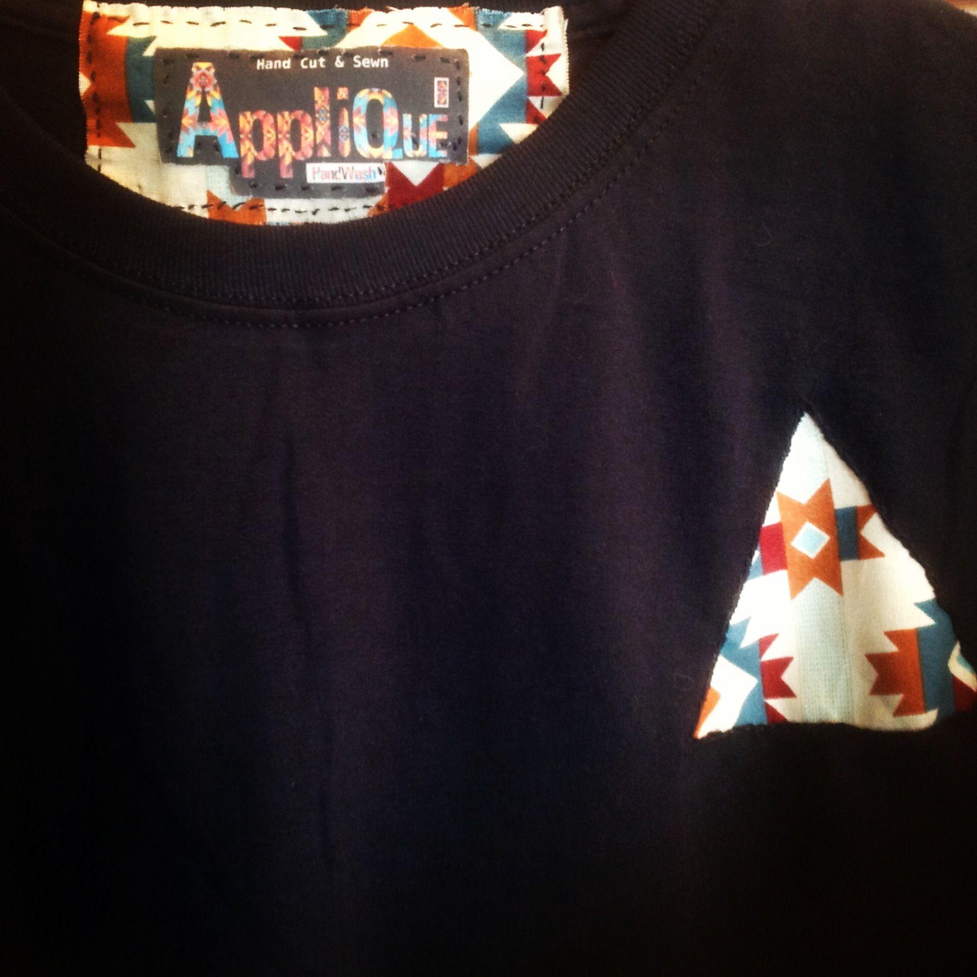 Appliqué Clothing: Hand Cut & Sewn Black T-shirt - Southwest, Aztec, Fabric - Hand Crafted In Malibu CA (Sz:XL)