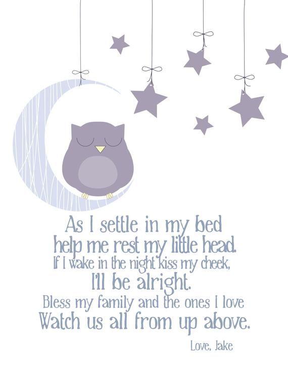 Nursery Decor Bedtime Prayer with Sleeping Owl Owl