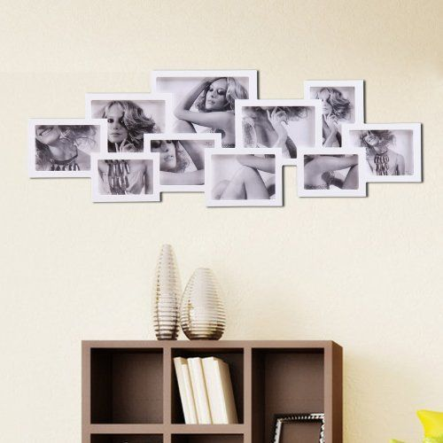 10 Opening Wooden Wall White Collage Photo Picture Frame Wall Art Holds Different Size Photos By Adeco Hanging Pictures Picture Frame Wall Wood Wall Hanging