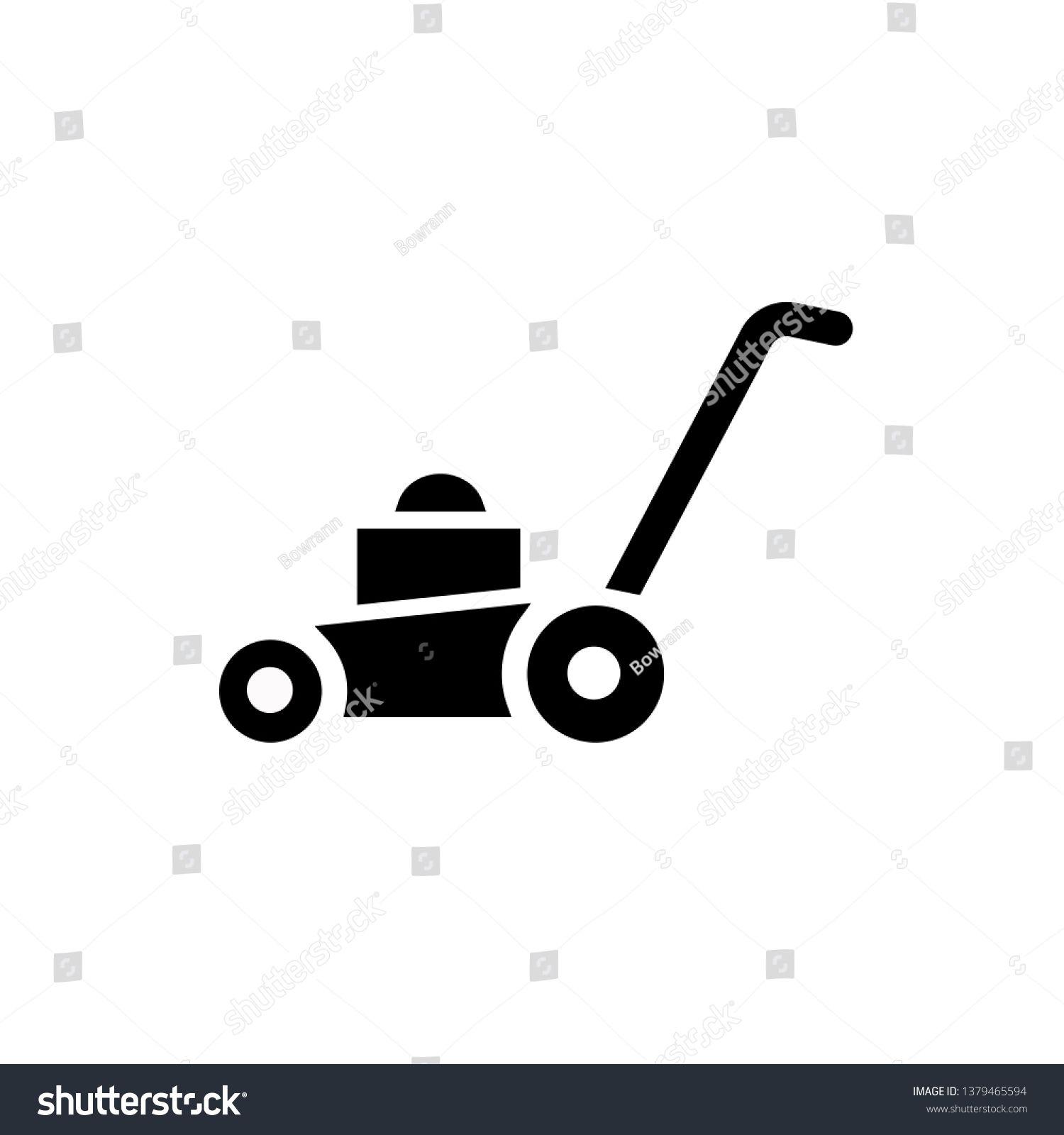 Lawn Mower Icon Vector Illustration Flat Design Style Vector Lawn Mower Icon Illustration Isolated On White Law Lawn Mower Vector Illustration Illustration