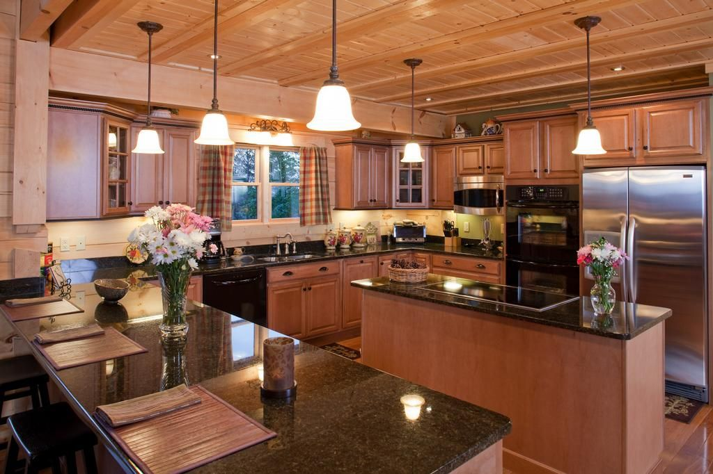 Luxury Log Home Kitchen By Custom Timber Log Homes