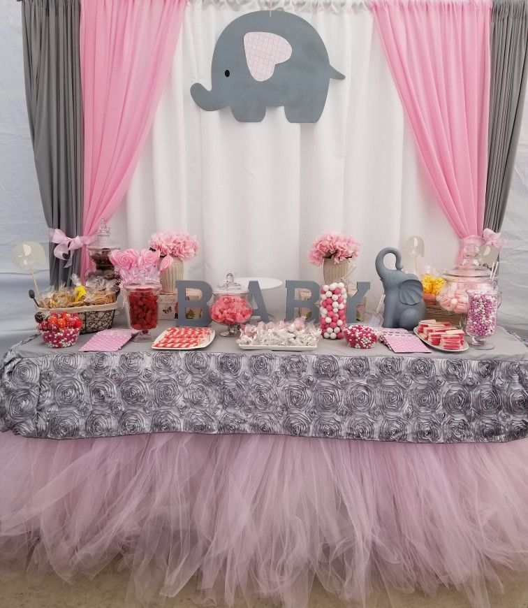 Pink And Gray Baby Shower Candy Table Pink And Gray Elephant Theme Elephant Baby Sho Elephant Baby Shower Theme Baby Shower Elephants Girl Baby Girl Elephant