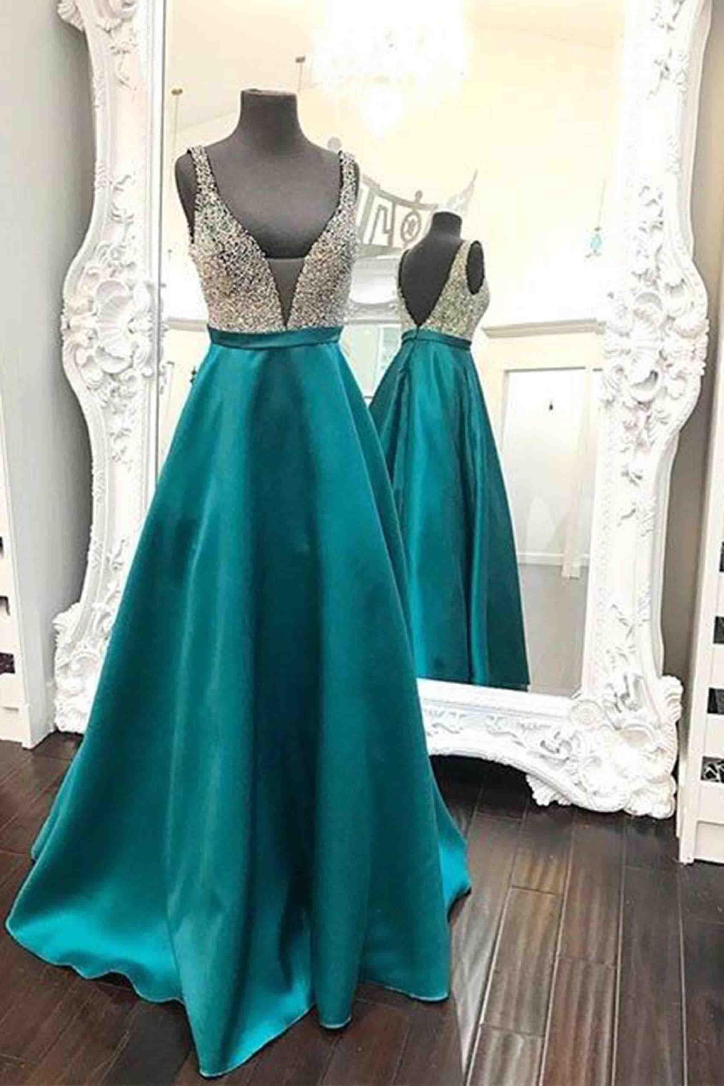 Malachite green satin prom dress, v-neck prom dress, cute sequin ...