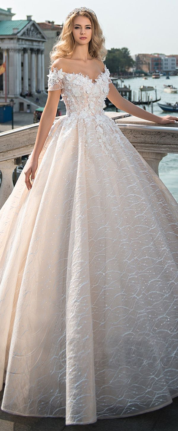 Gorgeous Lace Off-the-shoulder Neckline Ball Gown Wedding Dress