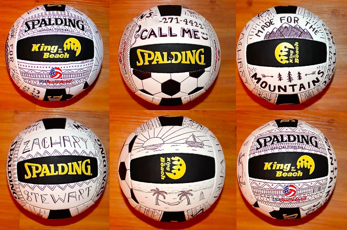 Thin Sharpie Decorated Beach Volleyball For A Sporty Friend S Birthday Volleyball Designs Beach Volleyball Volleyball