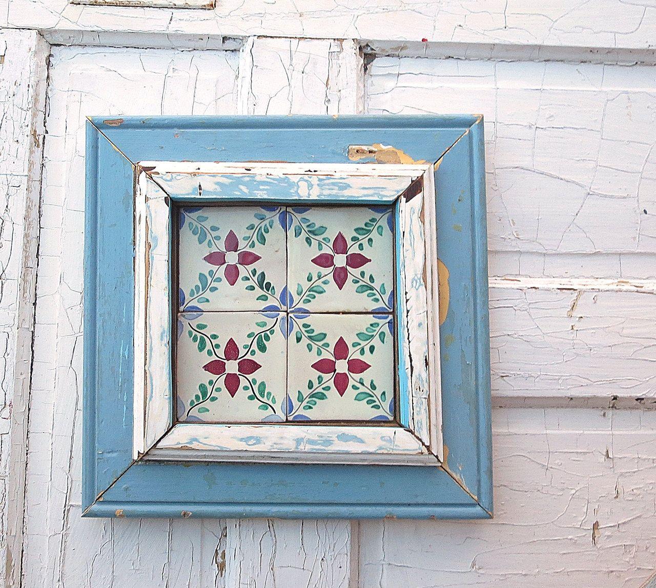 Reclaimed wood art rustic decor wood wall art blue tile wall reclaimed wood art rustic decor wood wall art blue tile wall decor ceramic tile art reclaimed wood home decor rustic wall decor dailygadgetfo Images