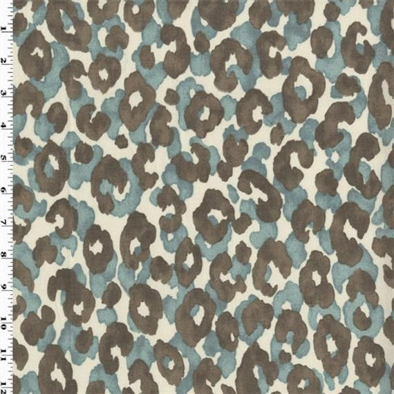 Blue/Ash P Kaufmann Cheetah Print Home Decorating Fabric ...