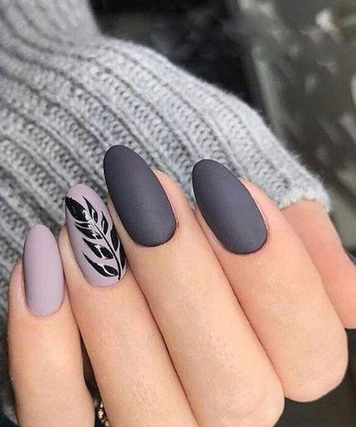 cute grey nail art design