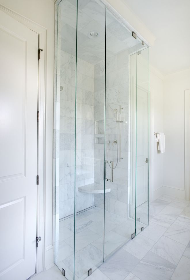 Marble Shower The Shower Is Wrapped With 12x18 White Marble Tile And Has A Linear Infinity Dra In 2020 Country Style Homes English Country Style English Country House