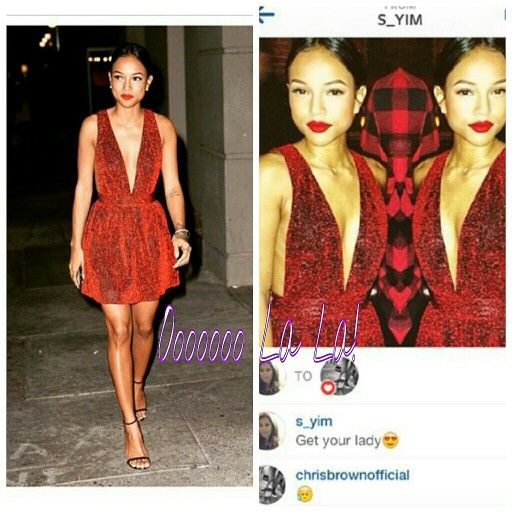Look what someone DM'd #ChrisBrown and he responded. Looks like he misses some #KarruecheTran who by the way looks gorgeous in her red holiday ensemble  #OooLaLaBlog