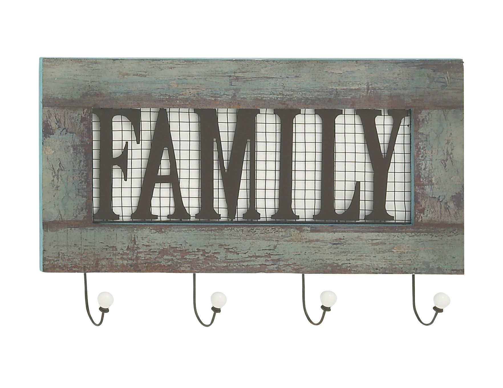 "Stylish Wood Metal Family Wall Hook 24""W, 15""H"