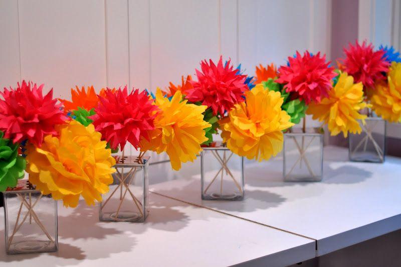 Home Paper Flower Centerpieces Fiesta Decorations