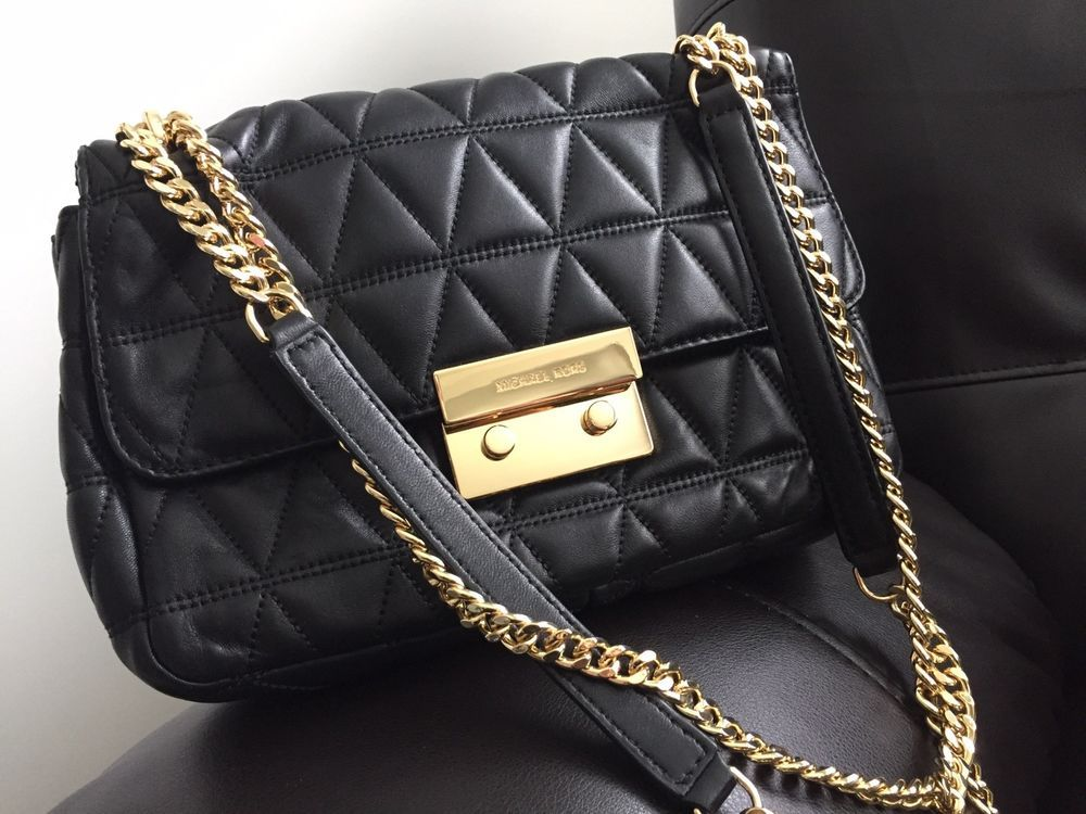 b54397b571344c NWT Michael Kors Sloan Large Quilted-Leather Shoulder Bag in Black/Gold