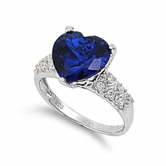 Haleys 4 Carat Sapphire Blue Heart Shape CZ Ring Only 4295