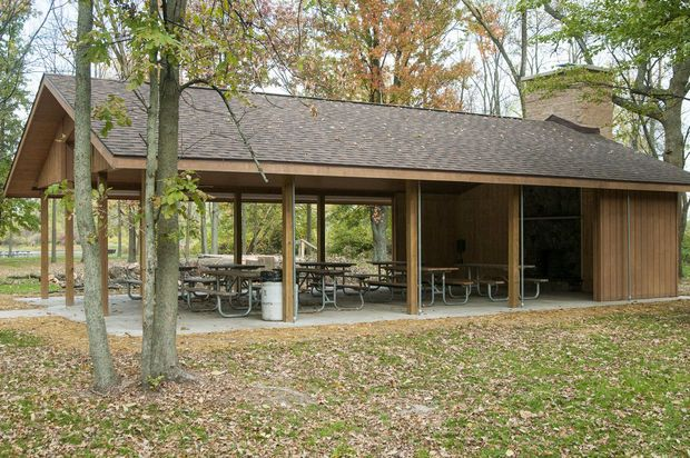 New picnic shelter with fireplace awaits visitors at Bay City ...