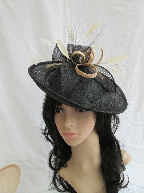 Black Fascinator..Beautiful  Black with pale gold trim Sinamay Fascinator Hat on a Headband #etsymntt #etsyretwt