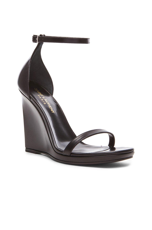 Image 2 of Saint Laurent Jane Leather Wedge Sandals in Black