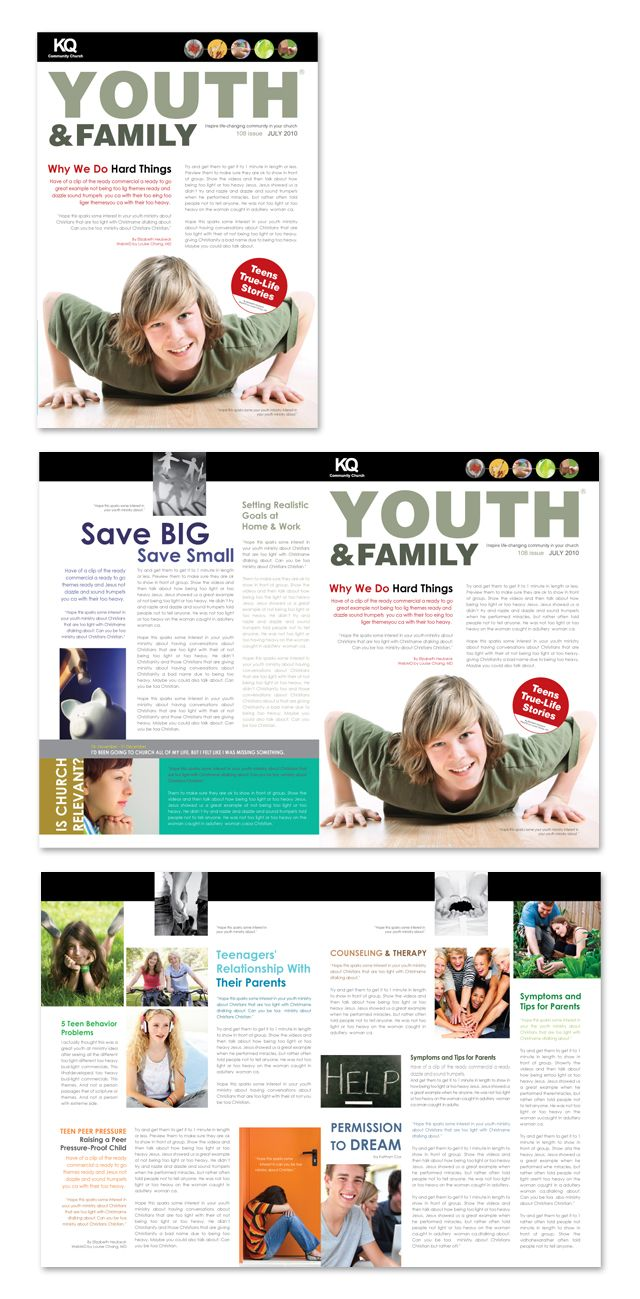 church ministry youth group newsletter template graphic design