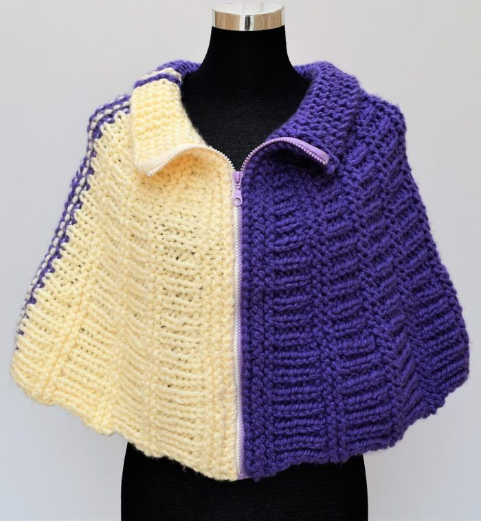 Free Knitting Pattern for Easy Wedges Cape - This poncho is knit ...
