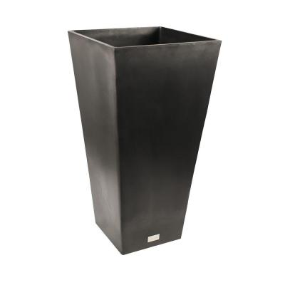 Veradek Midland 16 in Dia Square Black Tall Plastic Planter