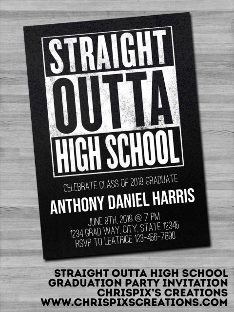 Straight Outta High School Graduation Party Invitation #graduationparties