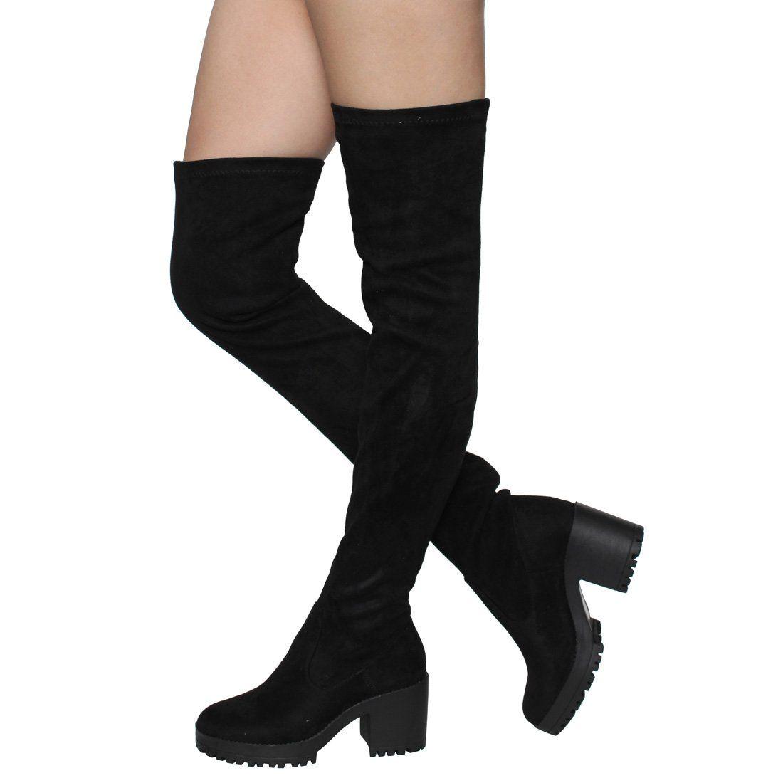 Beston ej05 womens stretchy snug fit platform thigh high