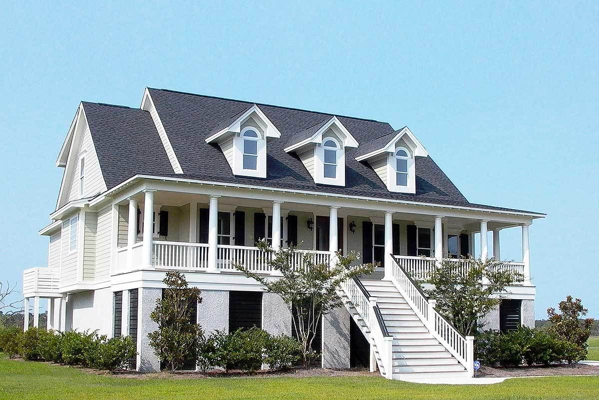 Plan 9143gu Raised Low Country Classic With Elevator Low Country Homes Elevated House Plans Southern House Plans