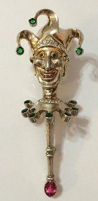 5482cf52d Rare vintage rhinestone reja sterling court jester brooch - pin ...