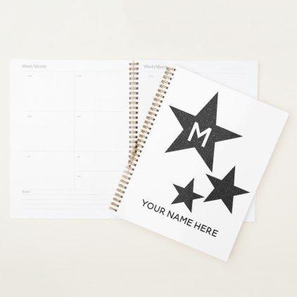Monochrome Monogram Star Personalized Planner Glitter Glamour Brilliance Sparkle Design Idea Diy Elegant Personal Planner Monogram Gifts Monogram