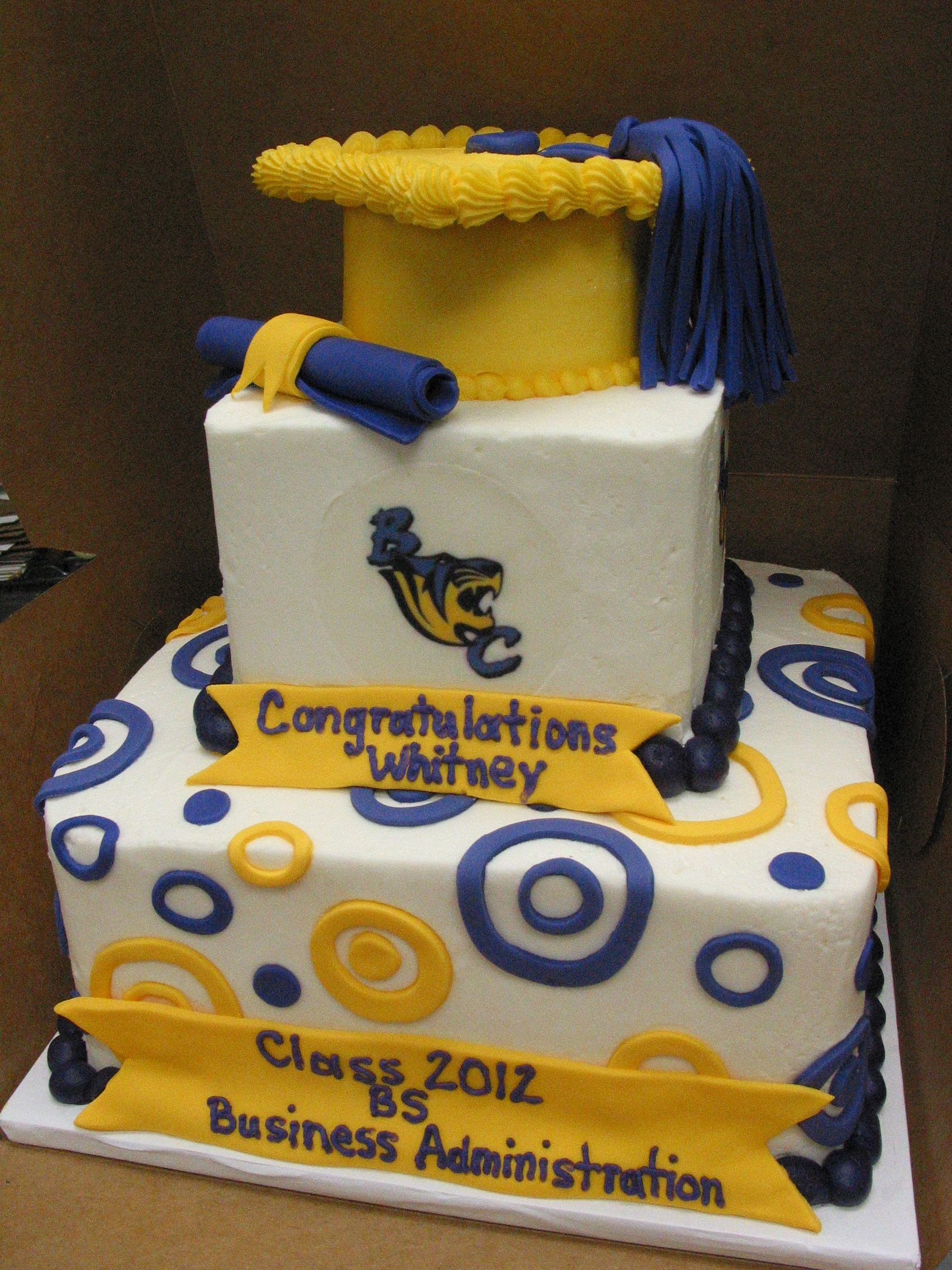 Graduation Cake Cap And Gown Diploma Tassel Sports Logo Tier Celebration Congratulations