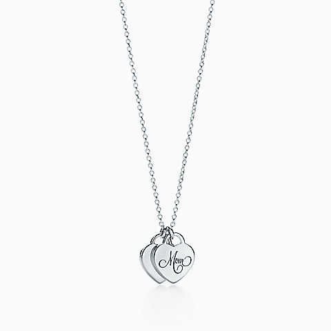 Tiffany hearts mom heart tag duo pendant in sterling silver mini necklaces for women audiocablefo