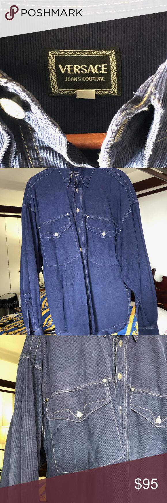 b2629b9b VERSACE JEANS COUTURE Blue Corduroy Shirt Large GENUINE VERSACE JEANS  COUTURE Blue Corduroy 100% Cotton Button Down Long Sleeve Large Mens Shirt  Large ...