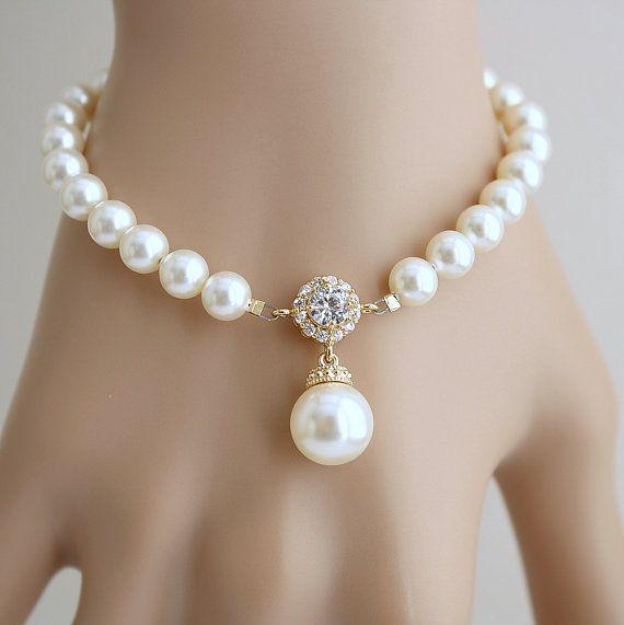 Wedding Bracelet Wedding Jewelry Pearl Gold by poetryjewelry