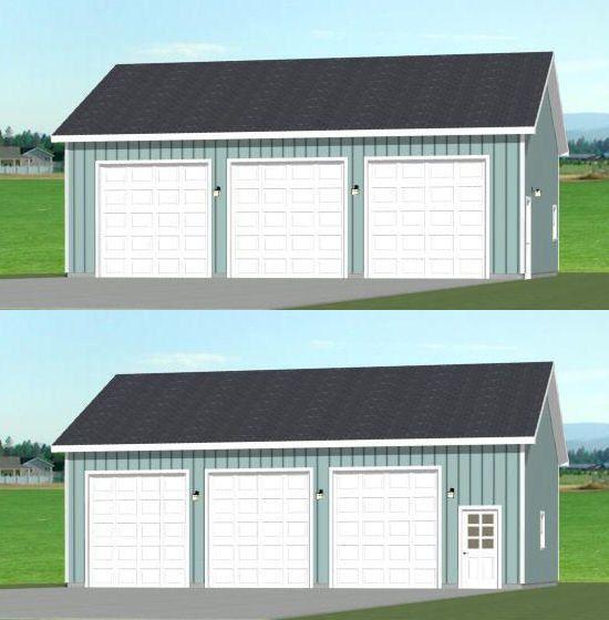 40x30 3-Car Garage -- #40X30G6F -- 1,200 Sq Ft