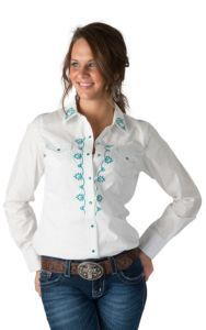 f757e53146 Ariat Women s Pilar White with Turquoise Embroidery Long Sleeve Western  Shirt