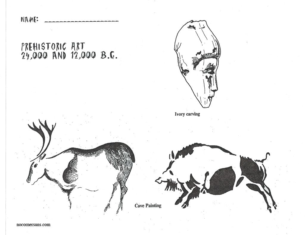 Prehistoric Art Coloring And Reference Page