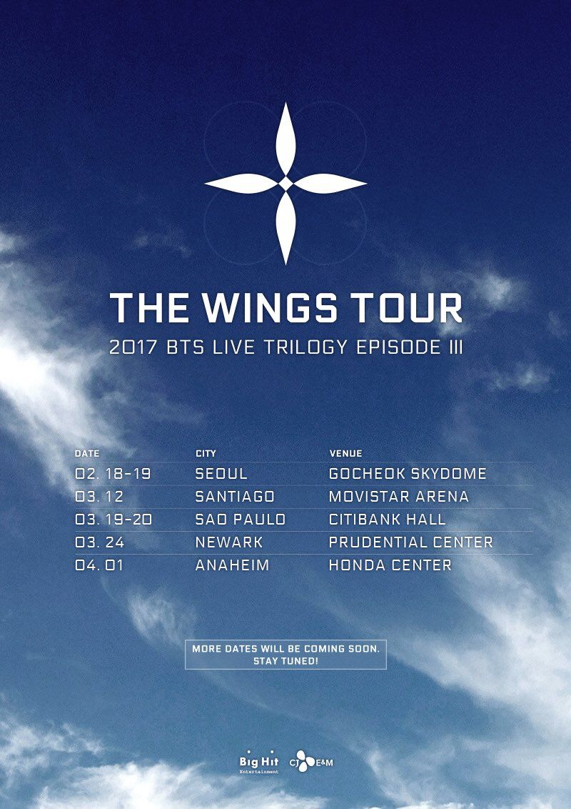 """BigHit Entertainment on Twitter: """"2017 BTS LIVE TRILOGY EPISODE III THE WINGS TOUR 일정 안내  #방탄소년단 #BTS #THEWINGSTOUR https://t.co/hOjEy3KoPT"""""""